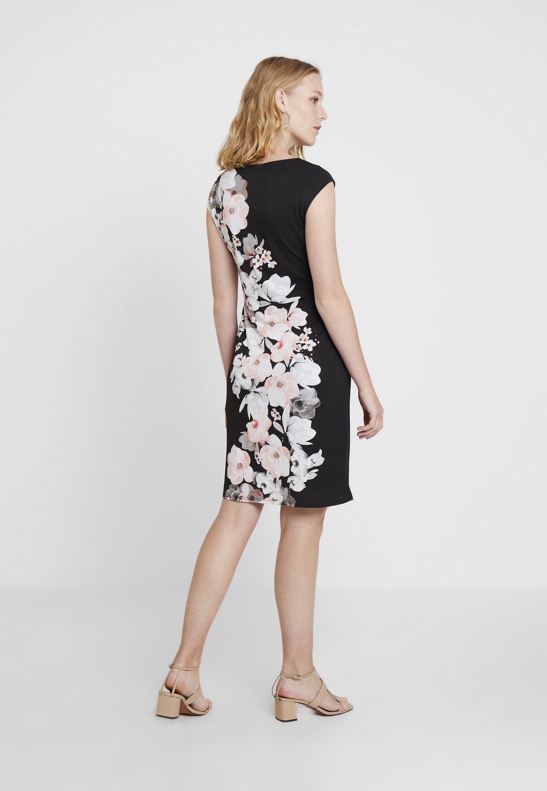 Geo Side Fourreau Floral DressRobe Black Ruche Wallis Ok0nw8P