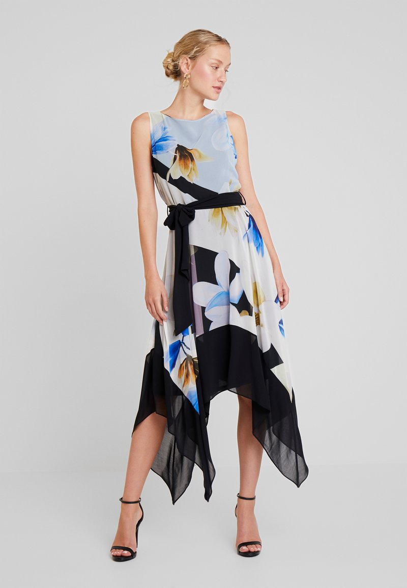 Wallis - FLORAL BLOCKED HANKY HEM - Maxi dress - black