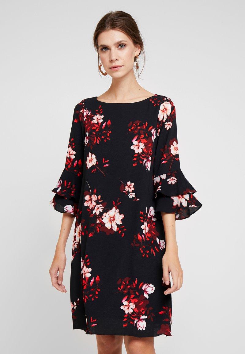 Wallis - SHADOW FLORAL FLUTE SLEEVE DRESS - Day dress - black
