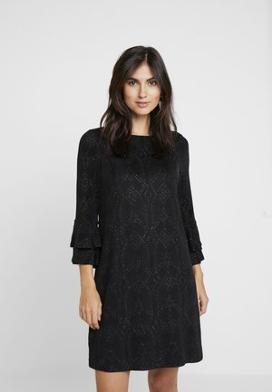 BLACK SPARKLE DOUBLE FLUTE SHIFT DRESS - Day dress - black