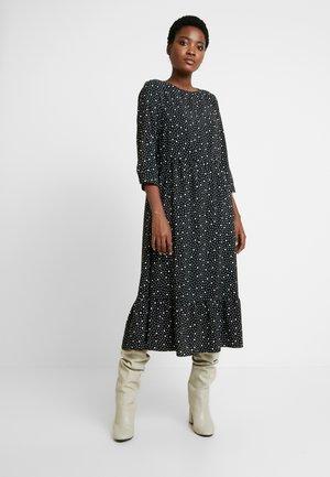 TIERED MIDI SPOT DRESS - Robe longue - black/white