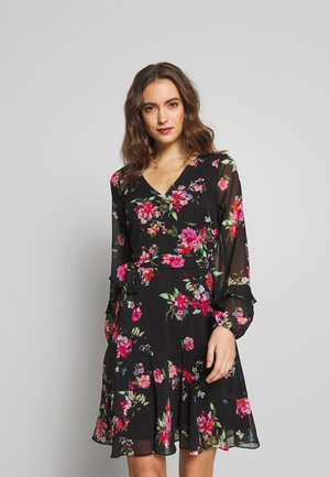 FLORAL RUFFLE SLEEVE  - Day dress - black