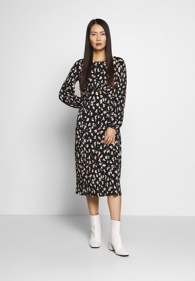 SHADOW FLORAL MONO MIDI DRESS - Day dress - black