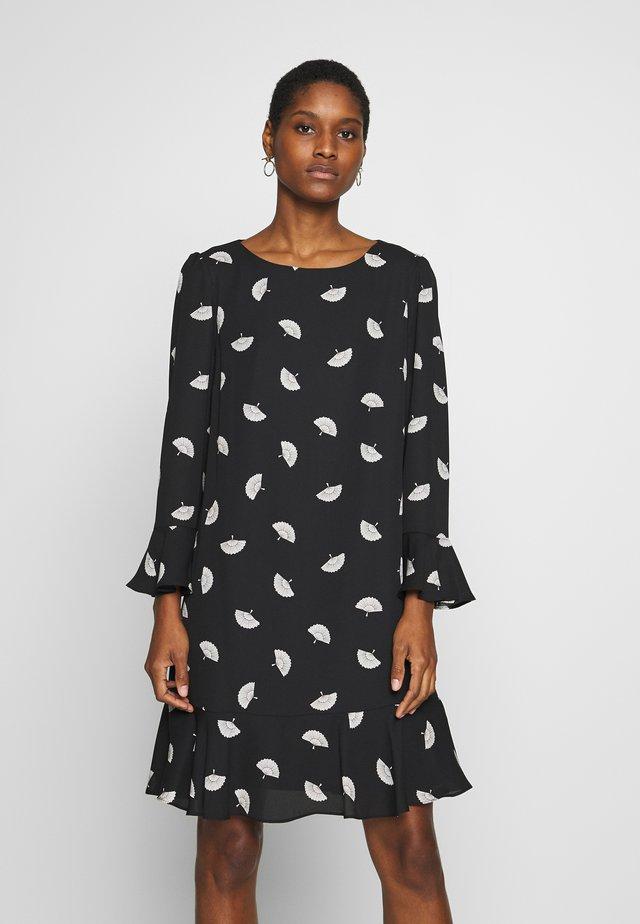 FLUTE SLEEVE SHIFT DRESS - Korte jurk - black