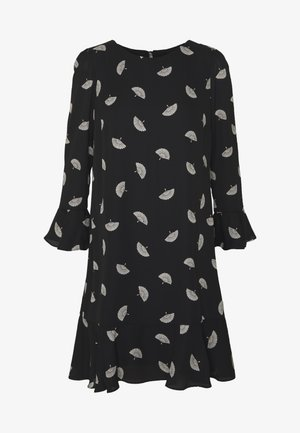 FLUTE SLEEVE SHIFT DRESS - Vapaa-ajan mekko - black