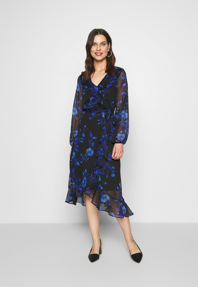 FLORAL RUFFLE MIDI DRESS - Sukienka letnia - black/blue