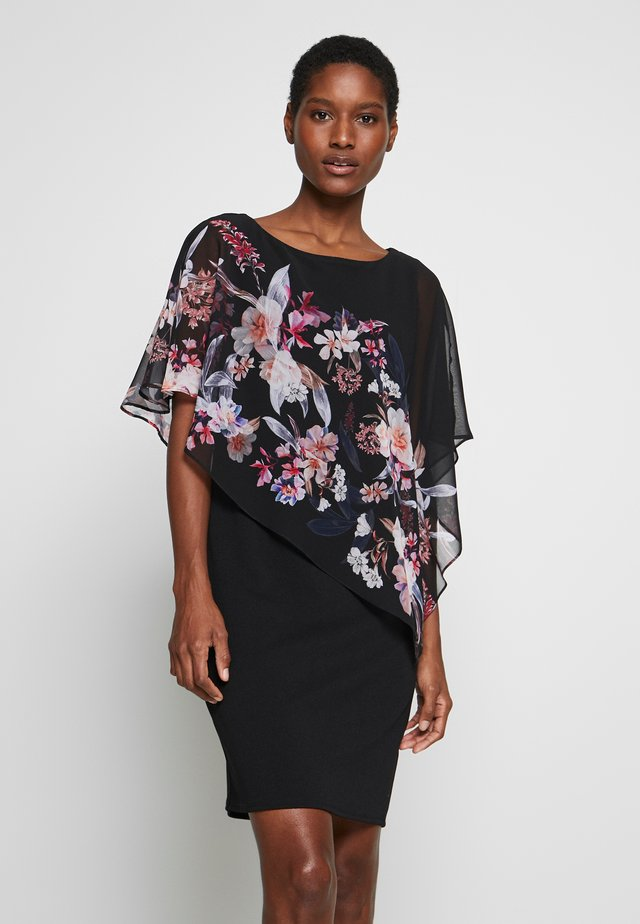 MAGNOLIA FLORAL OVERLAYER DRESS - Jerseyjurk - black