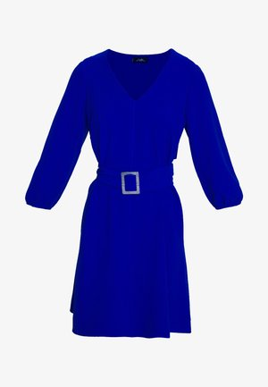 V NECK BUCKLE DETAIL SHIFT DRESS - Kjole - cobalt