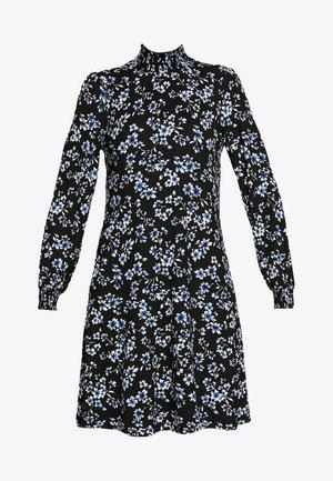 FLORAL SHIRRED CUFF SWING DRESS - Kjole - black