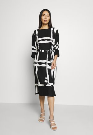 CHECK MIDI DRESS - Vestido de cóctel - black