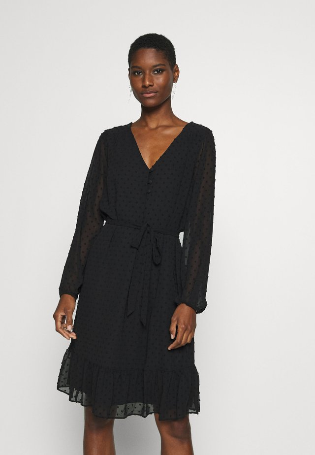 DOBBY TIERED MIDI DRESS - Shirt dress - black