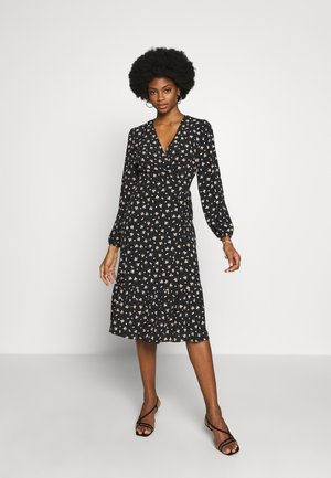 DITSY TIERED MIDI WRAP DRESS - Hverdagskjoler - black