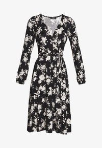 Wallis - MONO FLORAL WRAP MIDI DRESS - Jerseykjole - black