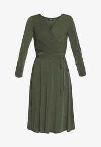 Wallis - WRAP FIT AND FLARE DRESS - Jersey dress - khaki/olive - 4