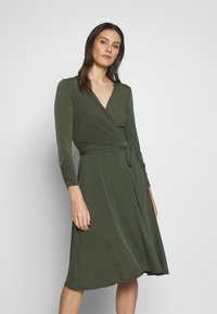 Wallis - WRAP FIT AND FLARE DRESS - Jersey dress - khaki/olive - 0