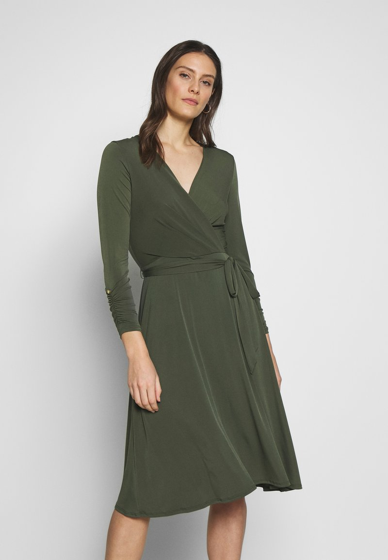 Wallis - WRAP FIT AND FLARE DRESS - Jersey dress - khaki/olive