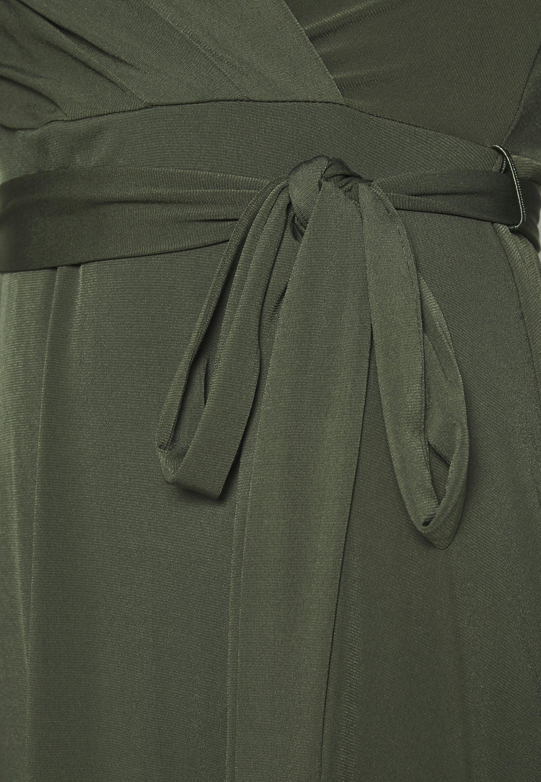 Wallis WRAP FIT AND FLARE DRESS - Sukienka z dżerseju - khaki/olive