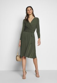 Wallis - WRAP FIT AND FLARE DRESS - Jersey dress - khaki/olive - 1