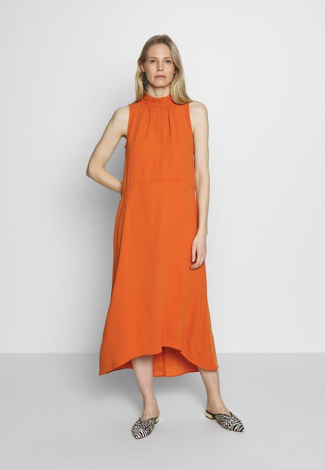 HIGH NECK HI LOW DRESS - Vestito lungo - orange