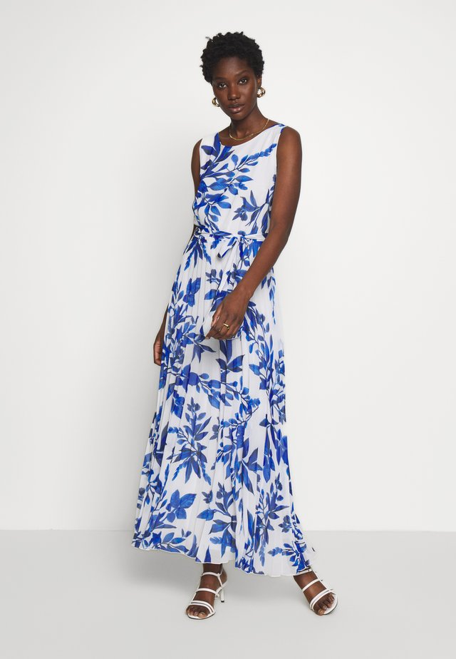 SPRAYED FLORAL PLEAT DRESS - Abito da sera - ivory/blue
