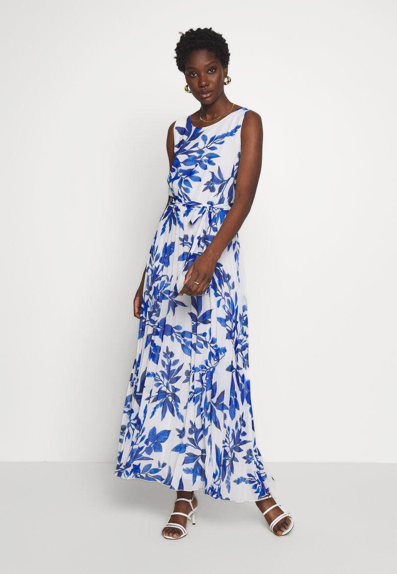 Wallis - SPRAYED FLORAL PLEAT DRESS - Galajurk - ivory/blue