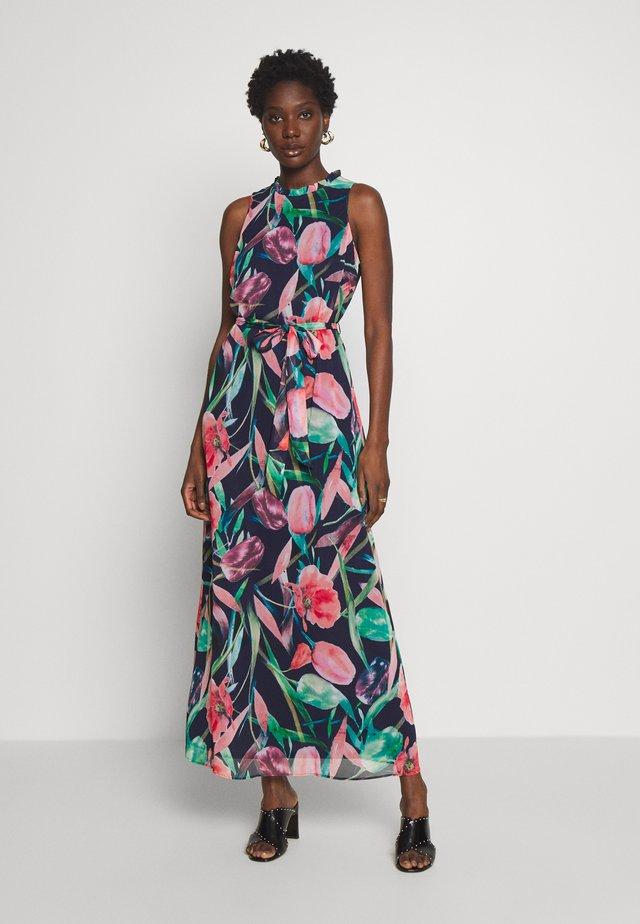 BRUSHED STROKE FLORAL MAXI DRESS - Maxi-jurk - ink