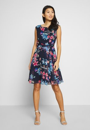 FLORAL FIT & FLARE - Day dress - navy