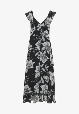 LINEA FLORAL RUFFLE DRESS - Korte jurk - black