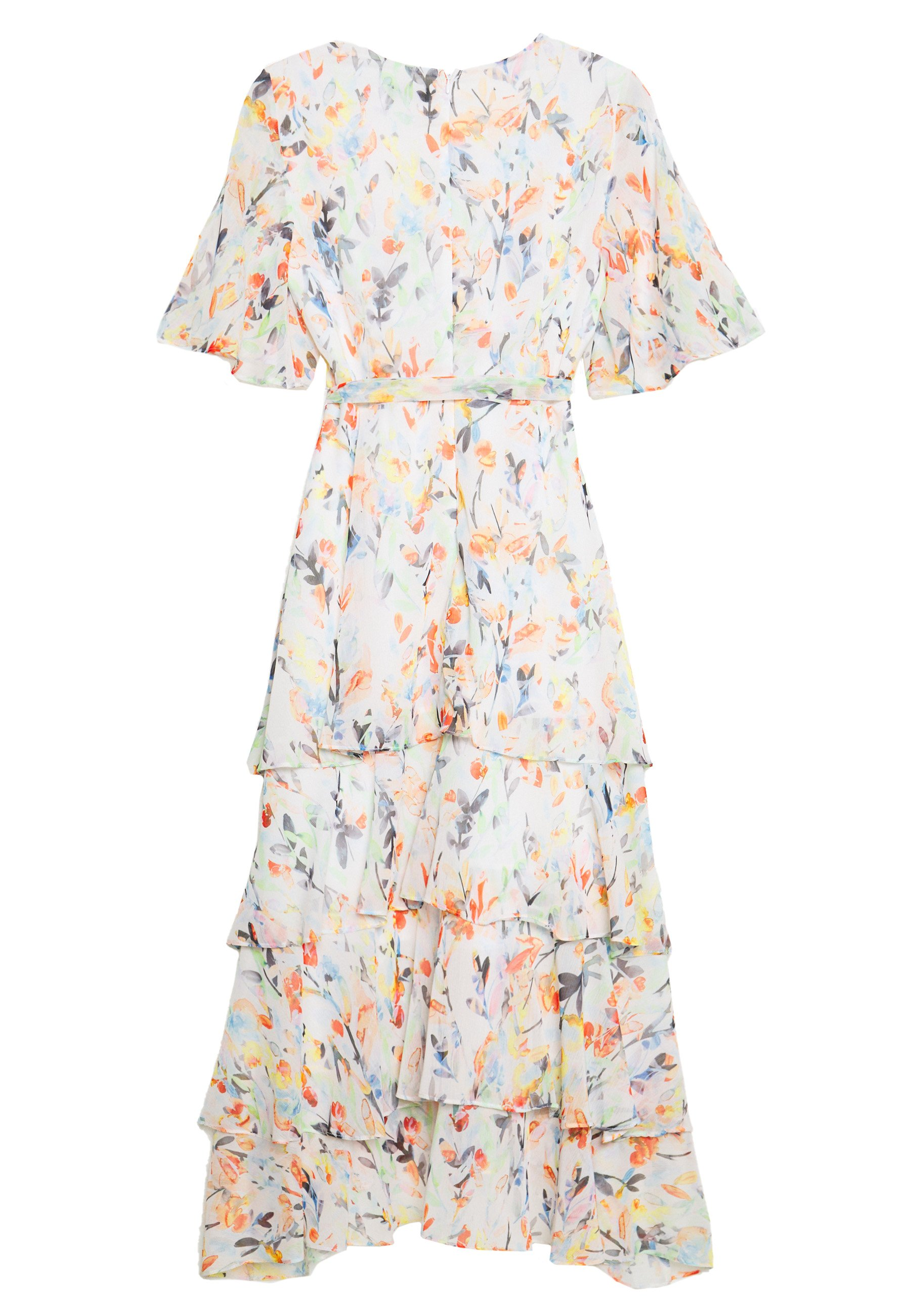 Wallis WATERCOLOUR LEAF TIERED DRESS - Sukienka letnia - ivory