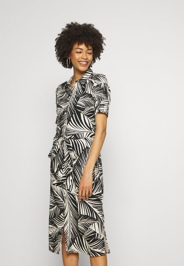 PALM SHIRT DRESS - Shirt dress - black/white