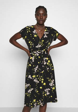 MEADOW FLOWER WRAP DRESS - Jerseykjole - black