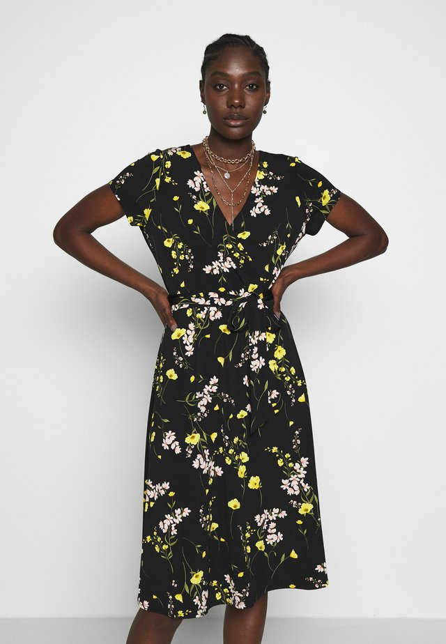 MEADOW FLOWER WRAP DRESS - Jerseyjurk - black