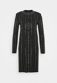 Wallis - KNITTED LINEAR SPARKLE DRESS - Vestido de cóctel - black - 0