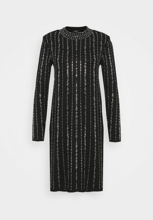 KNITTED LINEAR SPARKLE DRESS - Cocktail dress / Party dress - black