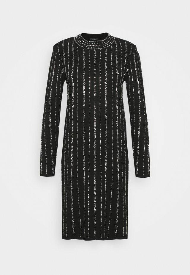 KNITTED LINEAR SPARKLE DRESS - Cocktailjurk - black