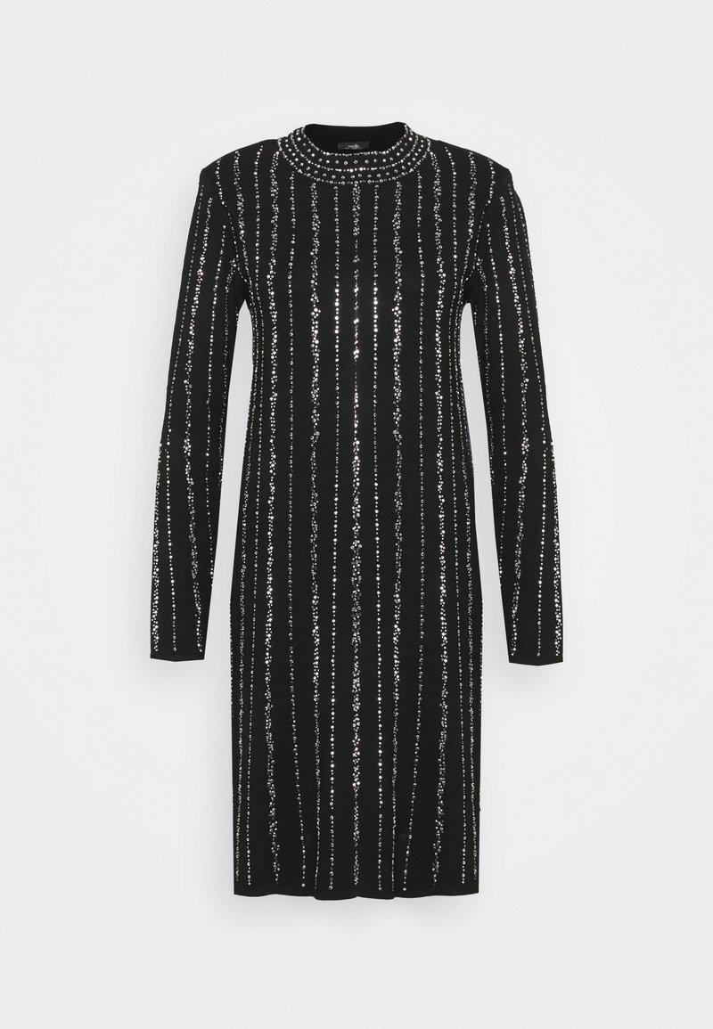 Wallis - KNITTED LINEAR SPARKLE DRESS - Vestido de cóctel - black