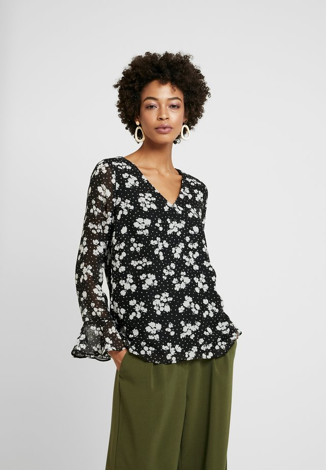 HEART FLORAL FLUTE - Blouse - black/white