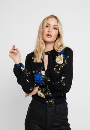MIDNIGHT ROSE HIGH NECK - Topper langermet - black