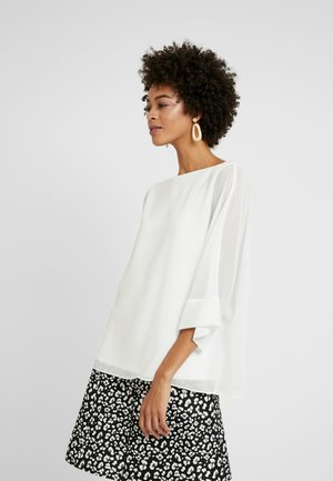 SLASH NECK OVERLAYER - Blouse - white