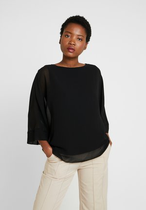 SLASH NECK OVERLAYER - Blouse - black