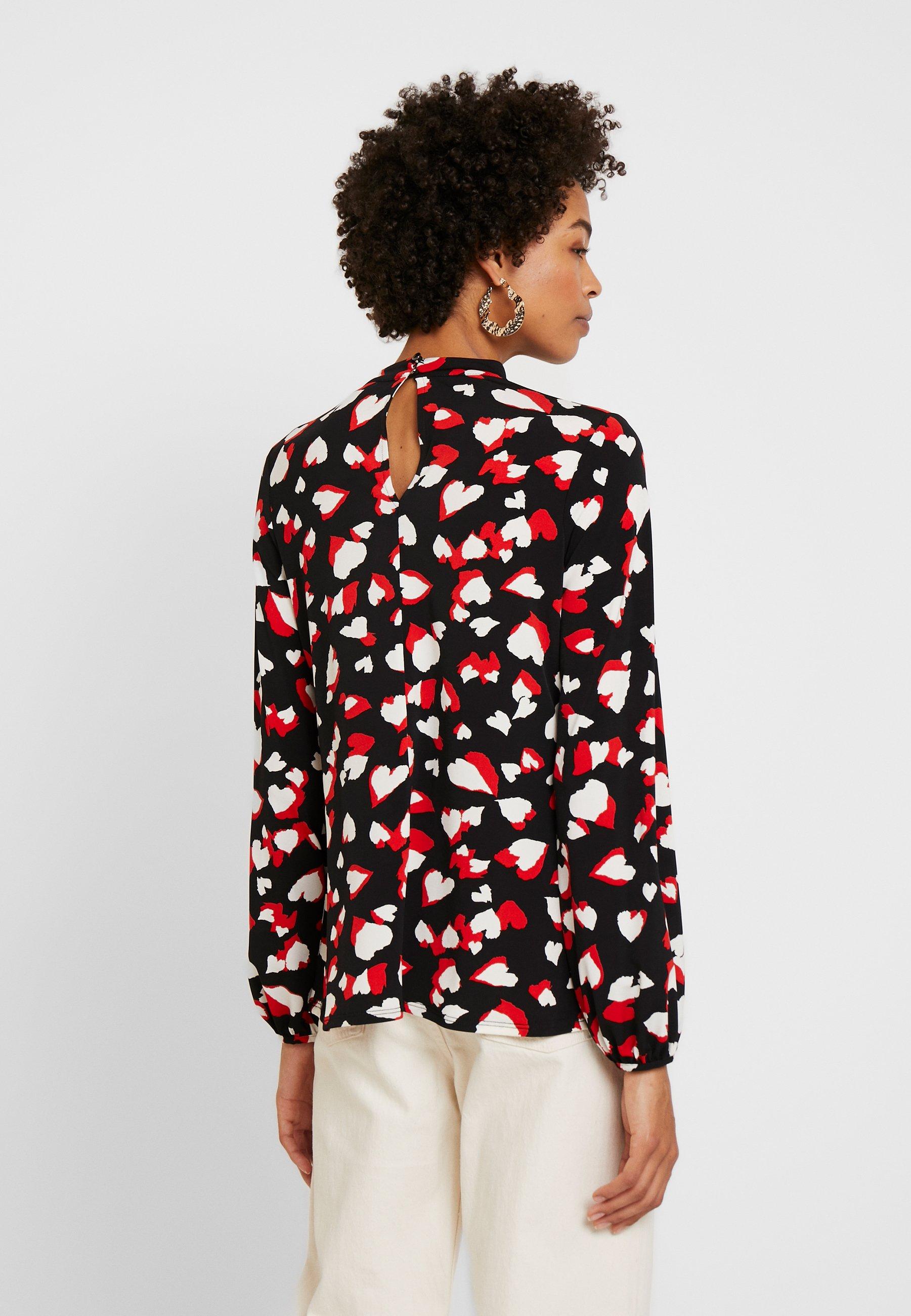 Wallis GRAPHIC HEART HIGH NECK - Bluzka z długim rękawem - black