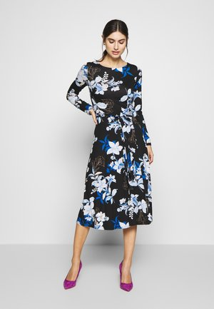 LINEA FLORAL MIDI DRESS - Jerseykjole - black