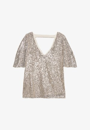 SEQUIN SLEEVE - Blus - champagne