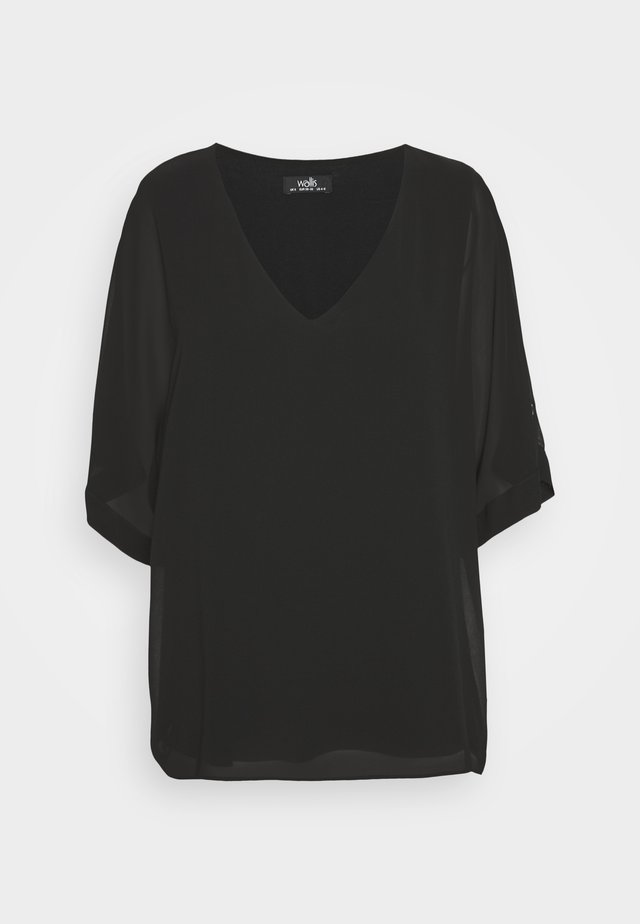 BUTTON TAB SLEEVE OVERLAYER - Blouse - black