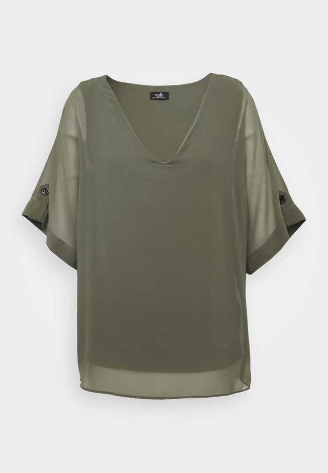 BUTTON TAB SLEEVE OVERLAYER - Blouse - khaki