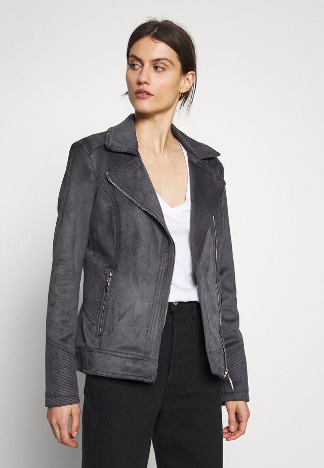 SUEDETTE BIKER - Faux leather jacket - grey