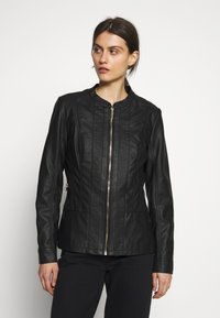 Wallis - PONTE SIDE PANEL - Faux leather jacket - black - 0