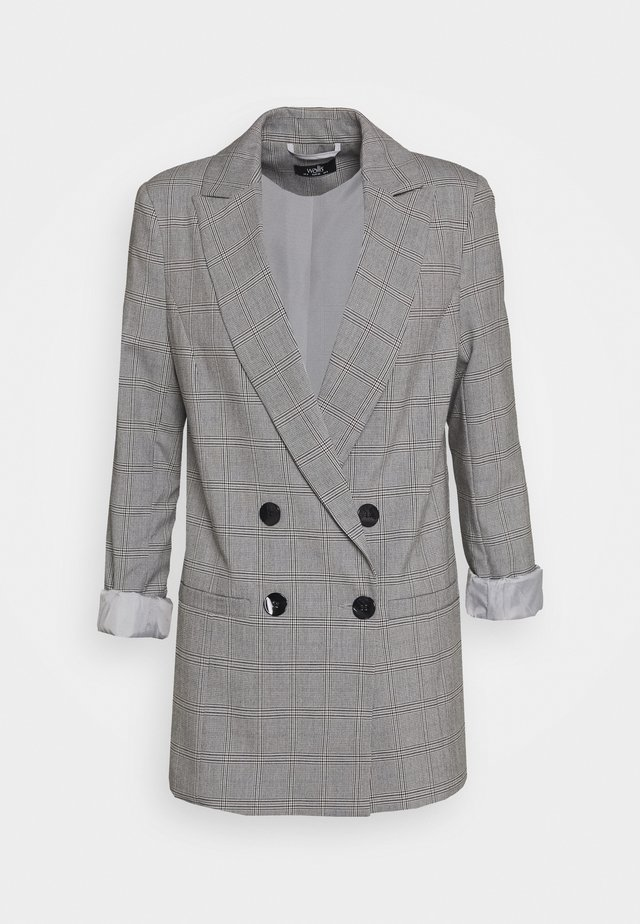CHECKED - Short coat - grey