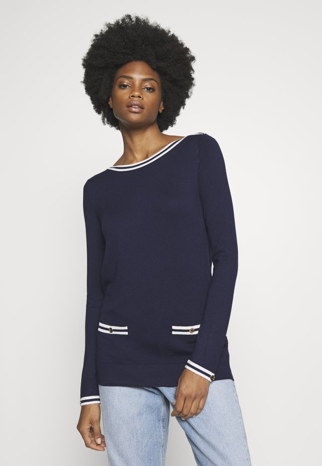 TIPPED BOAT NECK JUMPER - Jumper - navy blue