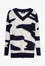 COWHIDE V NECK JUMPER - Pullover - navy blue